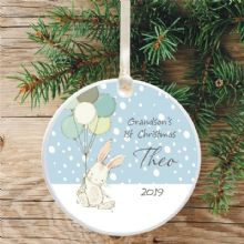 Grandson's 1st Christmas Ceramic Keepsake Tree Decoration - Cute Bunny and Balloons Design